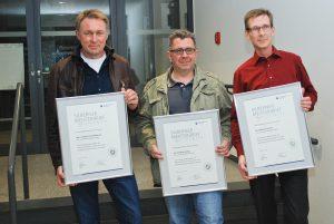 Thomas Freitag, Thomas Arthur Medinnus und Michael Schulte feierten ihr Silbernes Meisterprüfungsjubiläum.